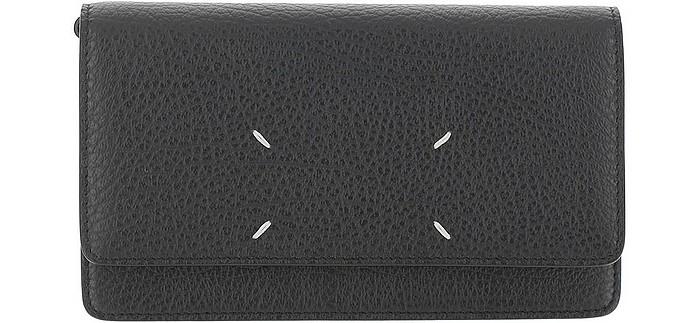 Black Leather Stitching Shoulder Bag - Maison Margiela