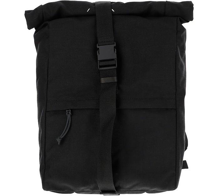 Black Nylon Roll-Top Backpack - Maison Margiela