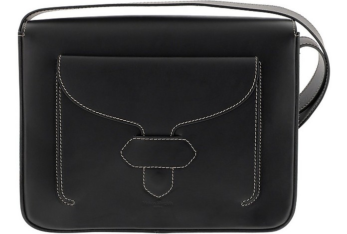 Black Leather Shoulder Bag w/White Stitching - Maison Margiela