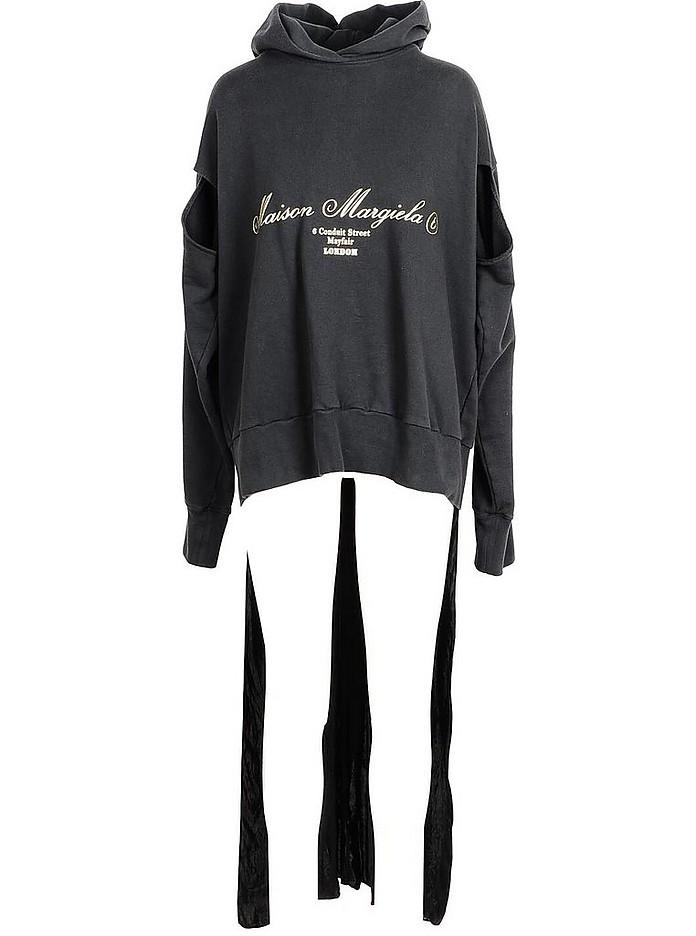 Black Signature Cotton Long Hoodie - Maison Margiela / メゾン マルジェラ