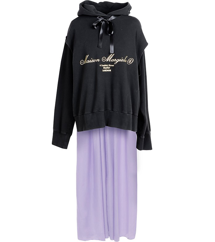 Black & Violet Signature Cotton Long Hoodie - Maison Margiela