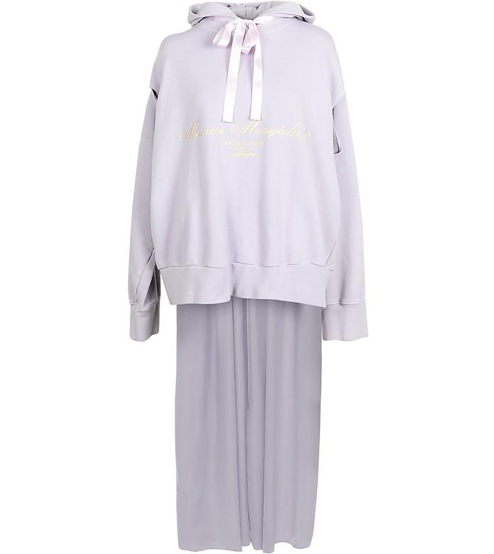 Lilac Signature Cotton Long Hoodie - Maison Margiela