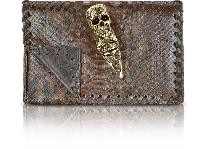 Brown and Black Python Skull Ring Clutch - Maison du Posh
