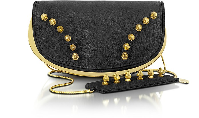 Studded Leather Mini Clutch - Maison du Posh