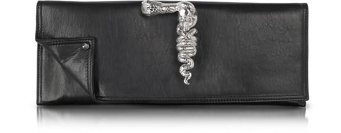 Black Leather Knuckle Ring Clutch - Maison du Posh