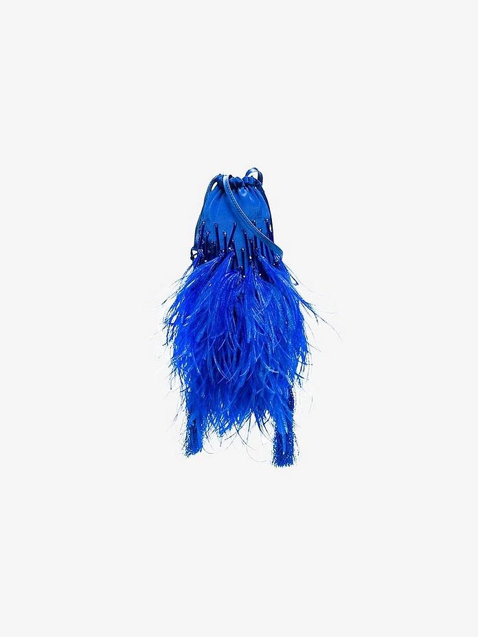 Blue mini beaded pouch bag - Attico