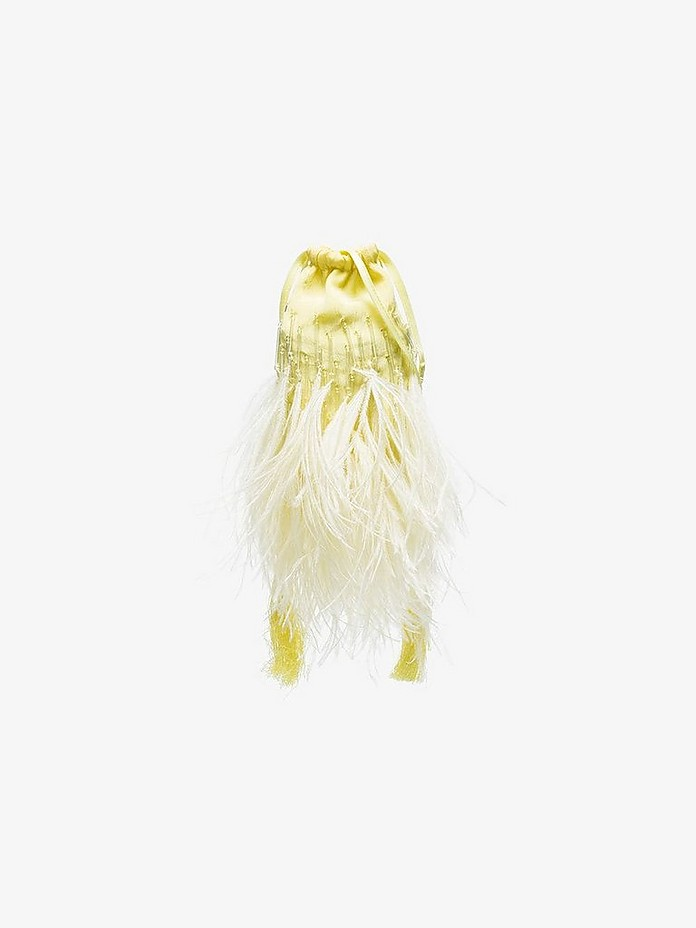 Attico Accessories Pale Yellow Mini Ostrich Feathers Pouch