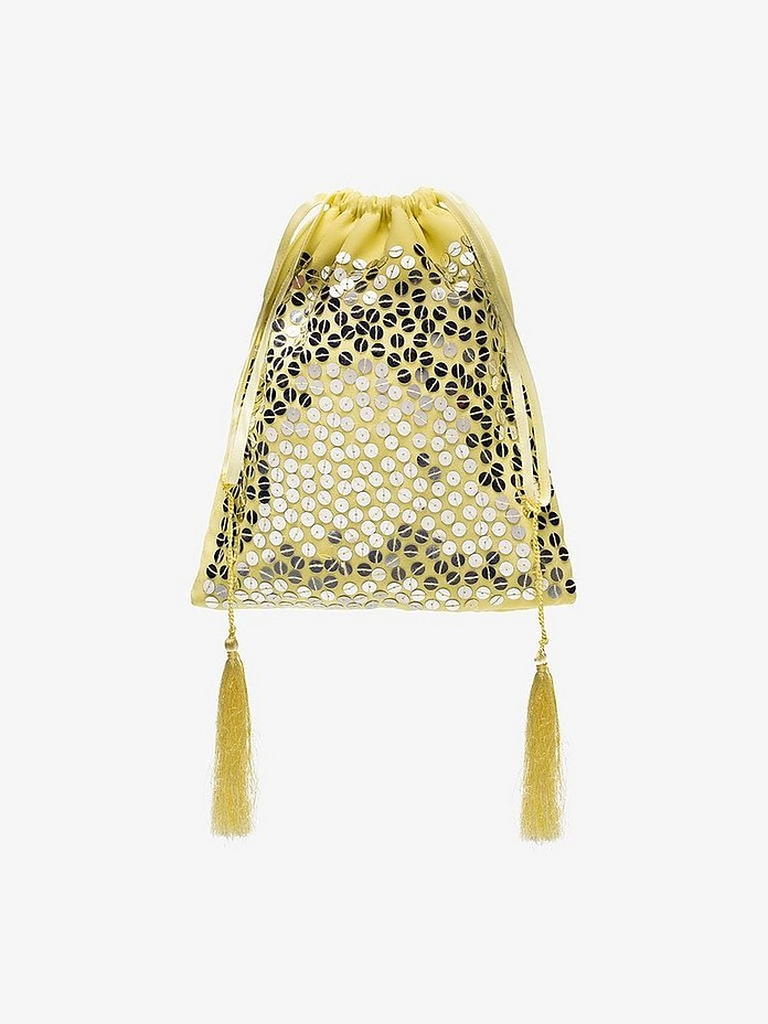 Attico Accessories Pale Yellow Pouch Bag w/Sequins