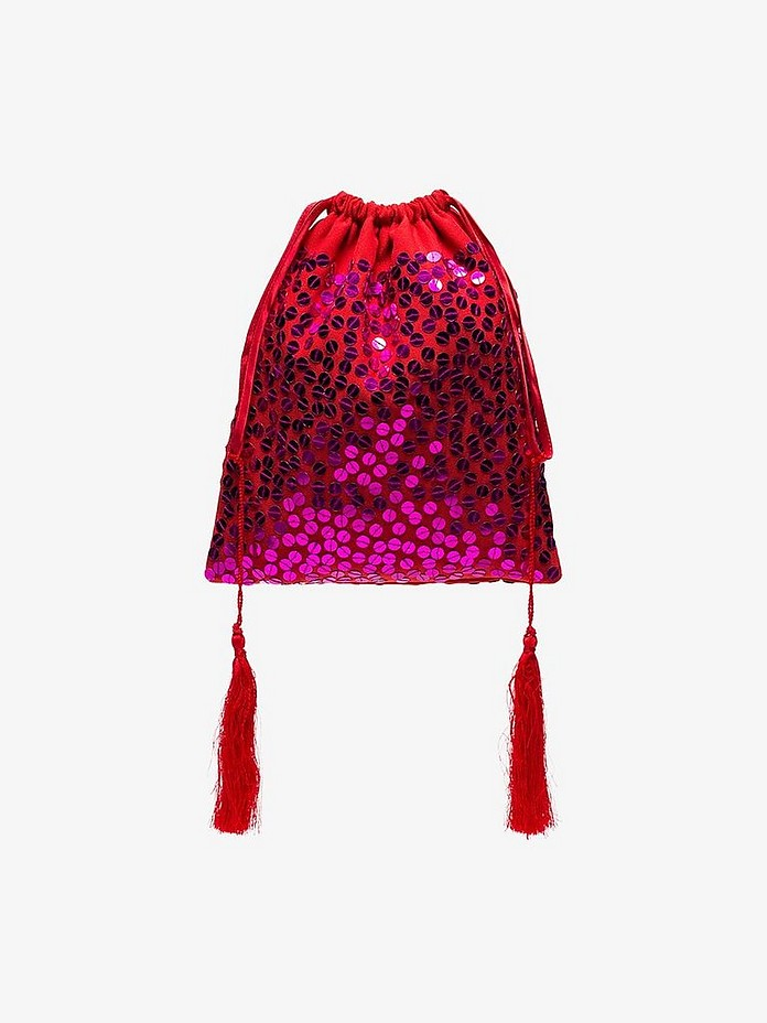 Attico Accessories Red Pouch Bag w/Sequins