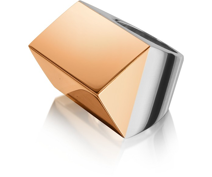 Cheope - Sterling Silver and Rose Gold Pyramid Ring - Mita Marina Milano
