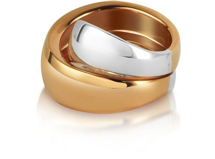 Kiss - Sterling Silver and Rose Gold Ring - Mita Marina Milano
