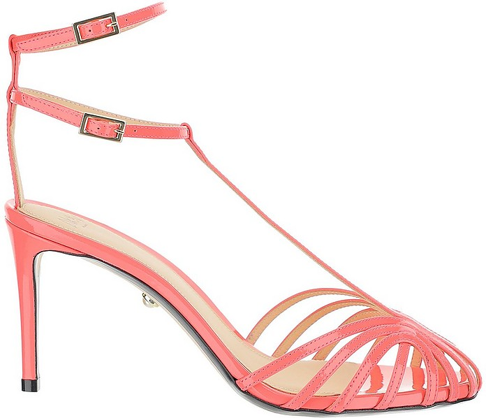 Coral Pink Patent Leather Sandals - Alevi