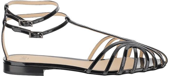 Shiny Black Leather Flat Sandals - Alevi