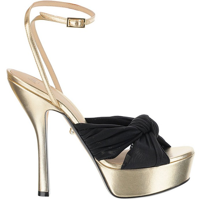 Eleonor Laminated Gold Leather and Black Bow Platform High Heels Sandals - Alevi