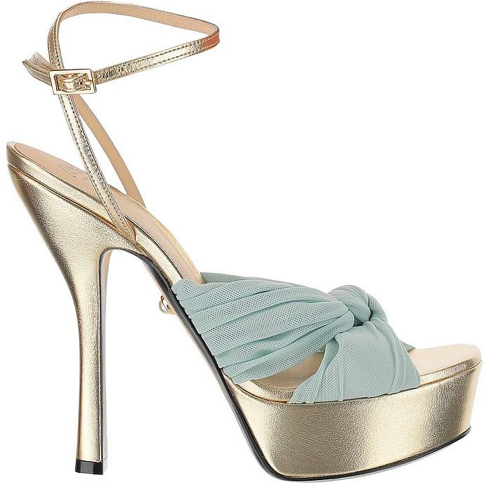 Eleonor Blue Braided Band & Laminated Gold Leather  High Heel  Platform Sandals  - Alevi