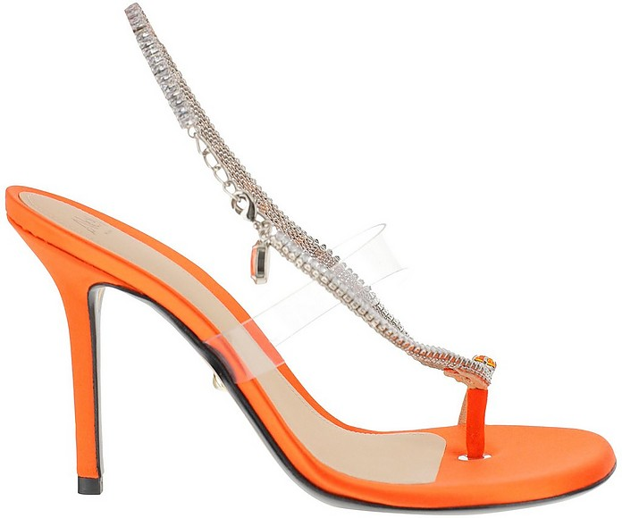 Orange Satin & Transparent PVC Jewel Sandals - Alevi