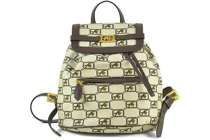 Beige Signature Cotton Backpack w/Leather Trim - Alberta Ferretti