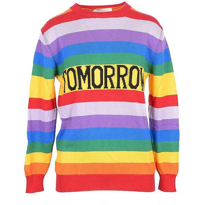 Rainbow Striped Cotton Women's Sweater - Alberta Ferretti