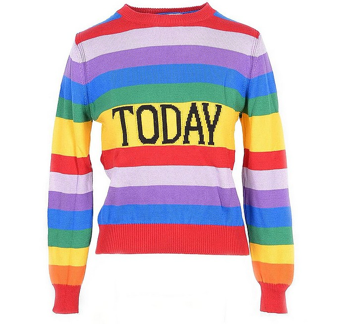 Rainbow Striped Cotton Women's Sweater - Alberta Ferretti