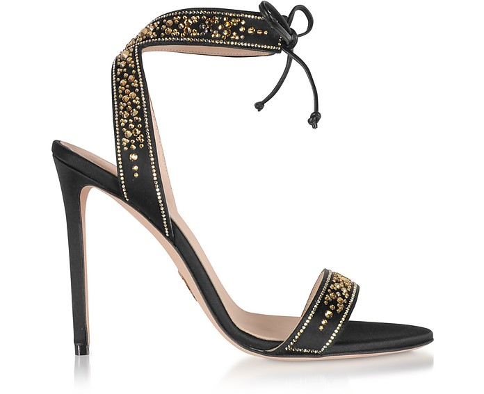 Aurora 110 Black Silk and Strass Sandals - Oscar Tiye