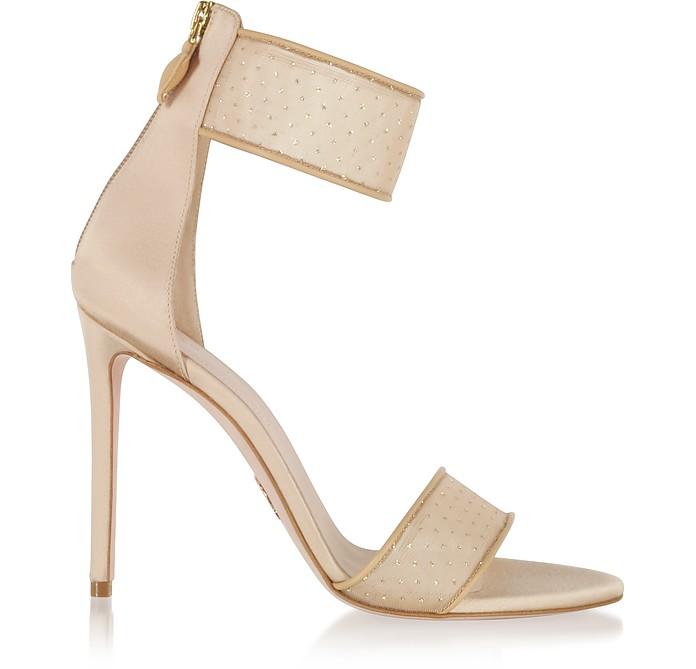 Liana Nude Glitter-Embellished Net Sandals - Oscar Tiye