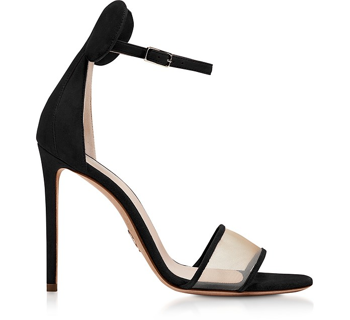 Minnie Black Suede High Heel Sandals - Oscar Tiye