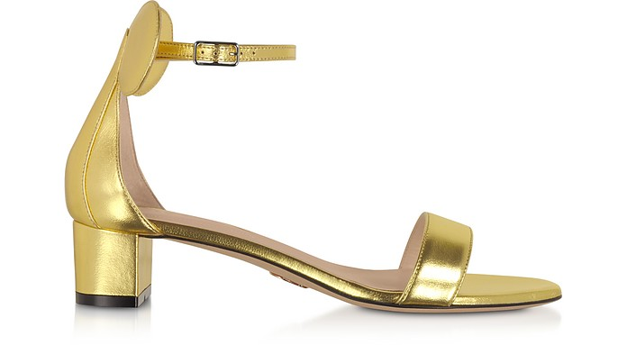 Gold Minnie Block Mid Heel Sandals - Oscar Tiye