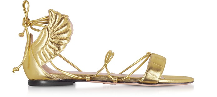 Gold Malikah Flat Sandals - Oscar Tiye