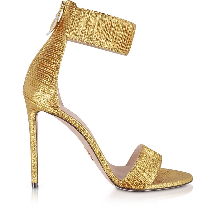 Liana Golden Plissè High Heel Sandals - Oscar Tiye
