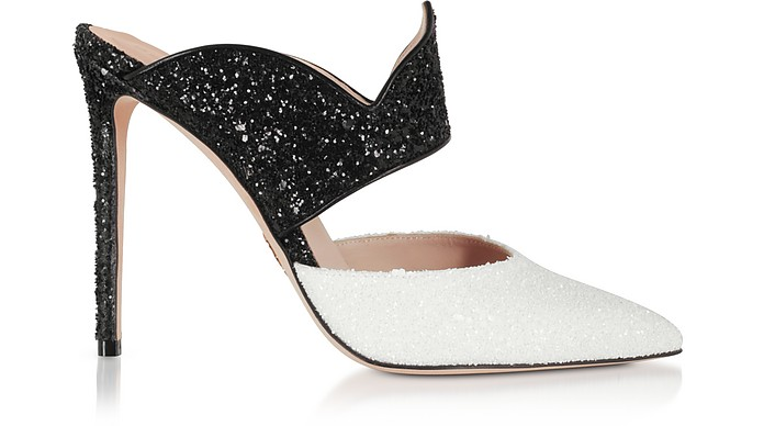 Brianne Black & White High Heel Mules - Oscar Tiye