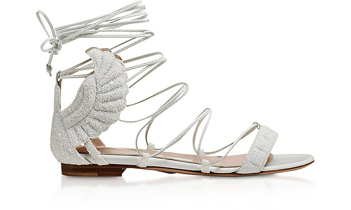 White Glitter Malikah Flat Sandals - Oscar Tiye
