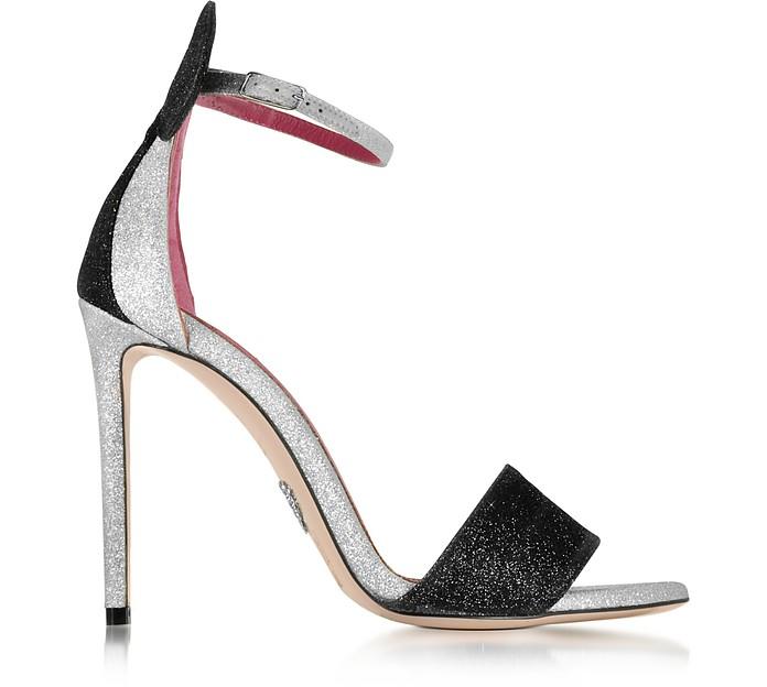 f5a5fdd3ddfe Oscar Tiye Minnie Platinum Glitter High Heel Sandal 40 IT EU at ...