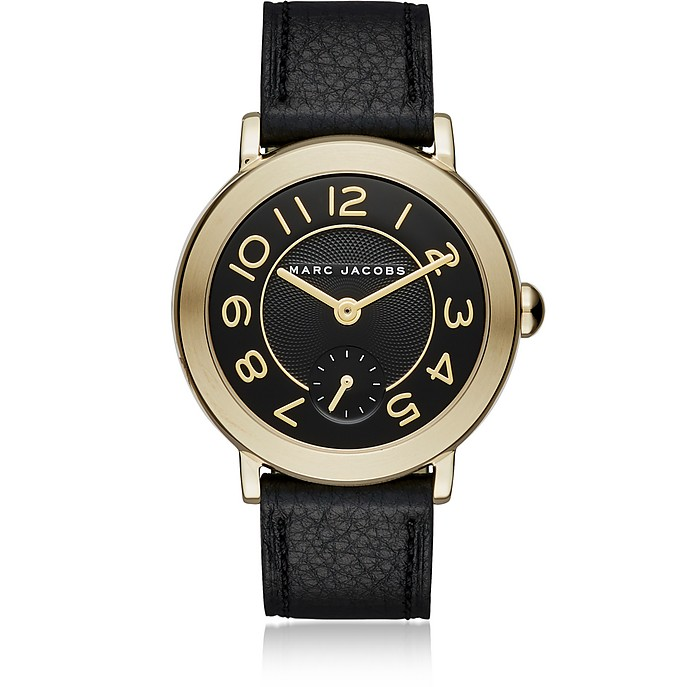 Riley Gold Tone and Black Leather Women's Watch - Marc Jacobs