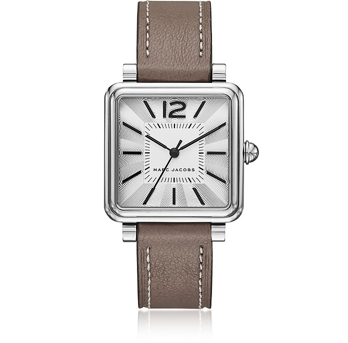 Vic Silver Tone and Brown Leather Women's Watch - Marc Jacobs