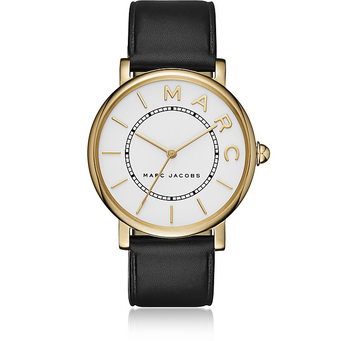 Roxy Gold Tone and Black Leather Women's Watch - Marc Jacobs