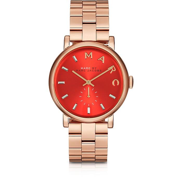 Baker Armbanduhr aus Edelstahl in rosé goldfarben mit Ziffernblatt in rot - Marc by Marc Jacobs