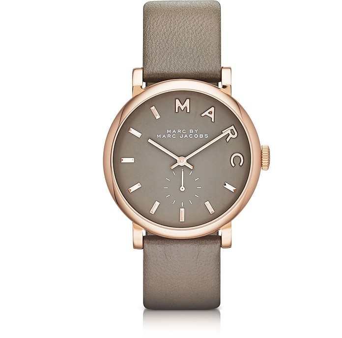 Baker 36 MM Gray Leather Strap and Rose Gold Stainless Steel Women's Watch - Marc by Marc Jacobs
