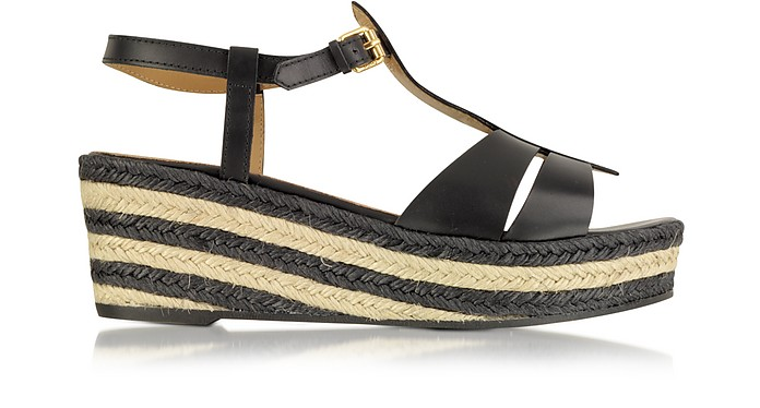Black Leather Espadrille Wedge Sandal - Marc by Marc Jacobs