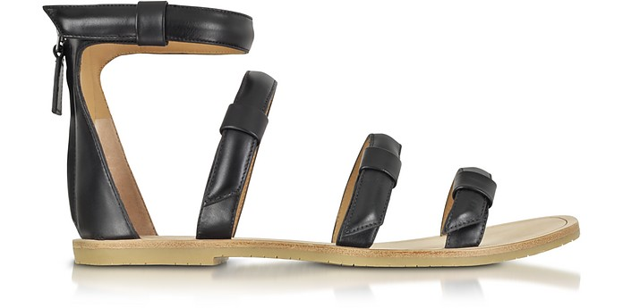 Seditionary Black Leather Flat Sandal - Marc by Marc Jacobs