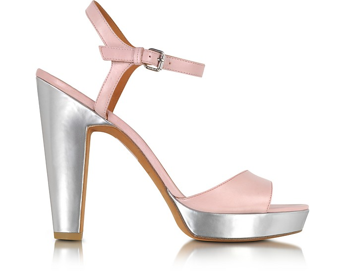 Light Pink and Silver Leather Platform Sandal - Marc by Marc Jacobs