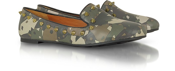 Green Camouflage Studded Loafers - Marc by Marc Jacobs