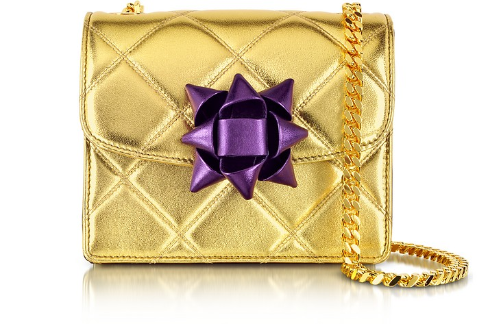Quilted Gold Laminate w/Party Bow Mini Trouble Shoulder Bag - Marc Jacobs