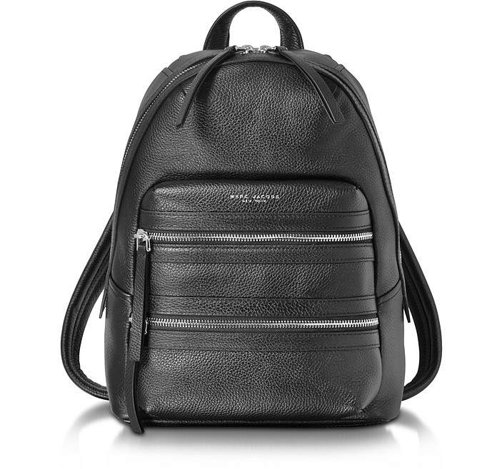 Black Pebbled Leather Biker Backpack