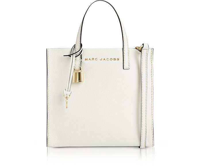 ba370924c5a Marc Jacobs White Glow Leather The Mini Grind Tote Bag at FORZIERI ...