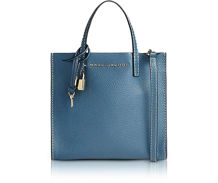 Vintage Blue Leather The Mini Grind Tote Bag