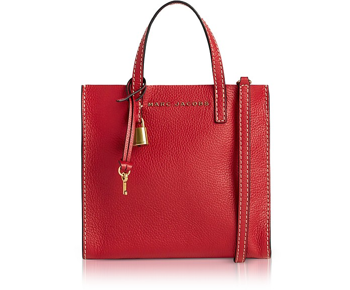 Red Leather The Mini Grind Tote Bag