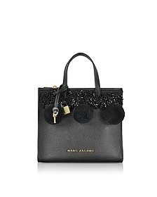 The Grind Mini Beads & PomPoms Black Leather Tote Bag - Marc Jacobs