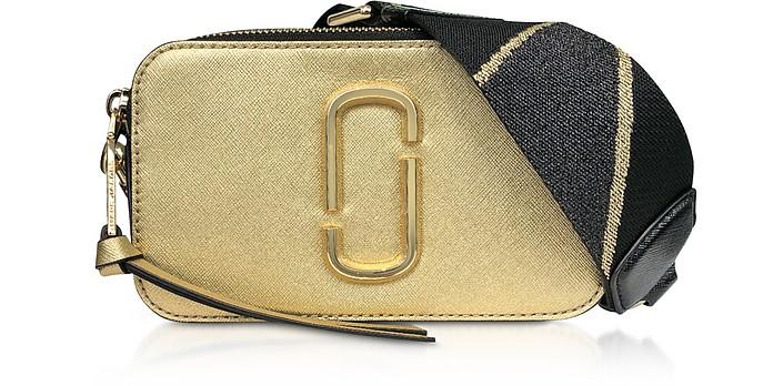 55518998411 Marc Jacobs Gold Logo Strap Snapshot Metallic Camera Bag at FORZIERI UK