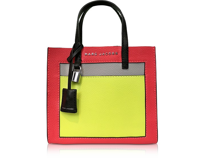 Marc Jacobs Hot Pink Grainy Leather The Mini Grind Colorblocked Tote ... 497806766d8ea