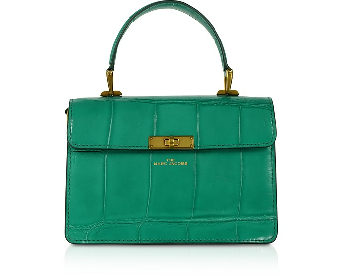 The Downtown Croc Embossed Green Cow Leather Handle Bag - Marc Jacobs